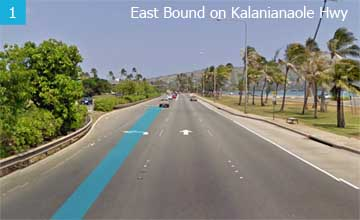 Drive East bound on Kalanianaole Hwy. Get to the left lanes after Hawaii Kai Drive.