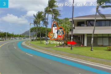 Stay on the right side on Keahole Street, you are going to make a right at the first stop light