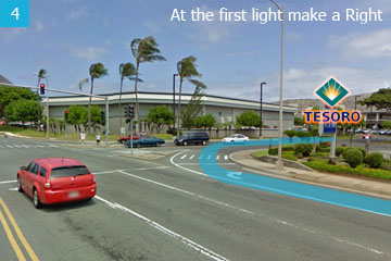 Tesoro gas station will be coming up on the right. Make a right at the light