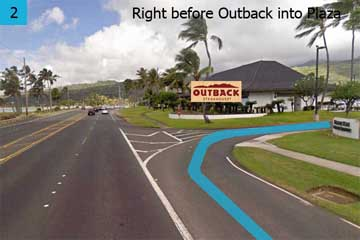 Take the first right turn between Outback and Hawaii Towne Center Exec. Bldg. The Corporate Plaza parking is on your left next to Outback.