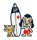 Surf Paws logo - Pip and Jerry